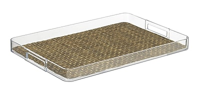 Kraftware Woven 19'' Handled Rectangle Serving Tray; Pearl
