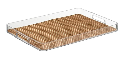Kraftware Woven 19'' Handled Rectangle Serving Tray; Topaz