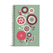 "Bookjigs Spiral-Bound Series Medium Canvas Notebook, 8"" x 5"", Flowers and Birds"