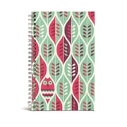 """Bookjigs Spiral-Bound Series Medium Canvas Notebook, 8"""" x 5"""", Owls and Leaves"""