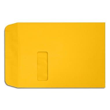 LUX ? Enveloppes à fenêtre à bout ouvert, 9 x 12 po, jaune tournesol, 50/boîte (LUX-1590-12-50)