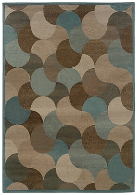 StyleHaven-Geometric Beige/ Blue Indoor Machine-made Polypropylene Area Rug (6'7