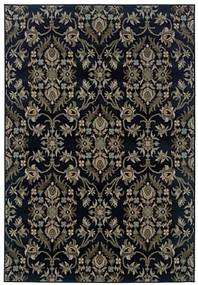 StyleHaven Floral Navy/ Gray Indoor Machine-made Polypropylene Area Rug (3'10