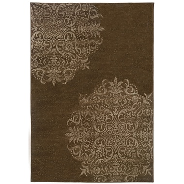 StyleHaven Oriental Brown/ Stone Indoor Machine-made Polypropylene Area Rug (6'7