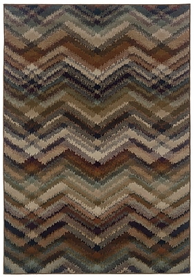 "Chevron Grey/ Multi Indoor Machine-made Polypropylene Area Rug (5'3"" X 7'6"")"