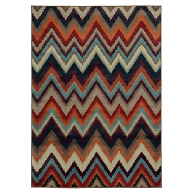 StyleHaven Chevron Multi/ Stone Indoor Machine-made Polypropylene Area Rug (3'10