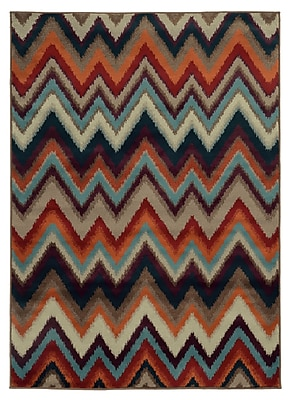StyleHaven Chevron Multi/ Stone Indoor Machine-made Polypropylene Area Rug (5'3