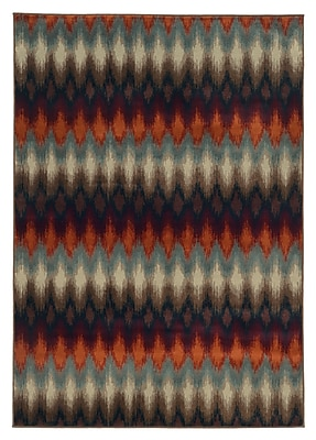 StyleHaven Geometric Ikat Multi/ Stone Indoor Machine-made Polypropylene Area Rug (7'10