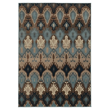 StyleHaven Tribal Blue/ Stone Indoor Machine-made Polypropylene Area Rug (7'10
