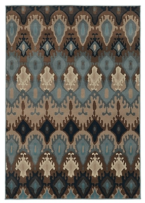 StyleHaven Tribal Blue/ Stone Indoor Machine-made Polypropylene Area Rug (6'7
