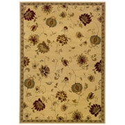 "Floral Ivory/ Green Indoor Machine-made Polypropylene Area Rug (5' X 7'6"")"