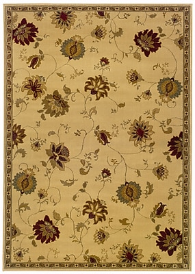 StyleHaven Floral Ivory/ Green Indoor Machine-made Polypropylene Area Rug (5' X 7'6