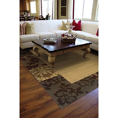 StyleHaven Border Beige/ Red Indoor Machine-made Polypropylene Area Rug (5' X 7'6