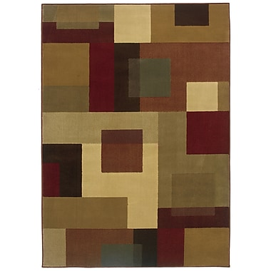 StyleHaven Geometric Red/ Tan Indoor Machine-made Polypropylene Area Rug (5' X 7'6