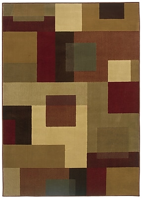 Geometric Red/ Tan Indoor Machine-made Polypropylene Area Rug (8'2