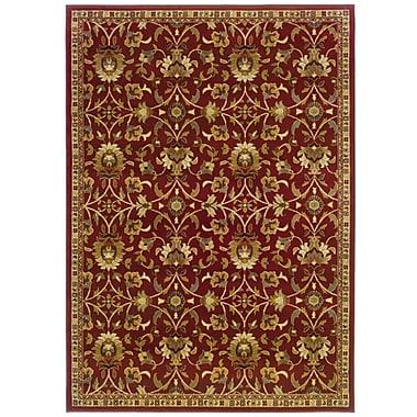 StyleHaven Floral Red/ Ivory Indoor Machine-made Polypropylene Area Rug (5' X 7'6