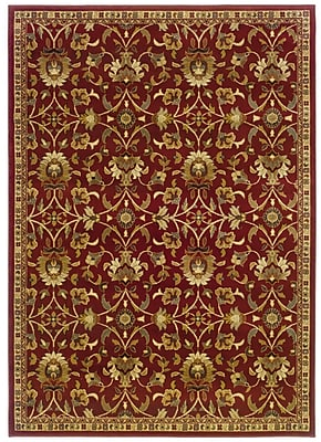 Floral Red/ Ivory Indoor Machine-made Polypropylene Area Rug (5' X 7'6