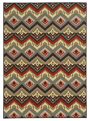 Geometric Multi/ Multi Indoor Machine-made Nylon Area Rug (6'7
