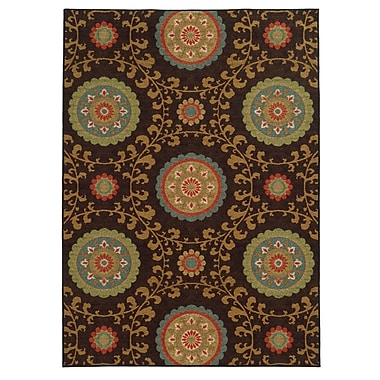 StyleHaven-Floral Brown/ Multi Indoor Machine-made Nylon Area Rug (6'7