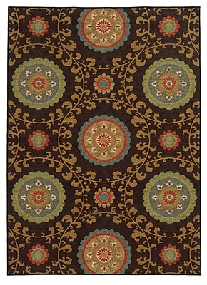 StyleHaven-Floral Brown/ Multi Indoor Machine-made Nylon Area Rug (7'10