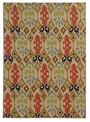 StyleHaven Abstract Beige/ Multi Indoor Machine-made Nylon Area Rug (5'3