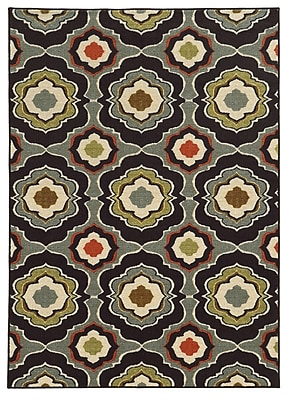 Floral Black/ Grey Indoor Machine-made Nylon Area Rug (5'3