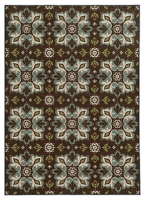 StyleHaven-Floral Brown/ Blue Indoor Machine-made Nylon Area Rug (3'3