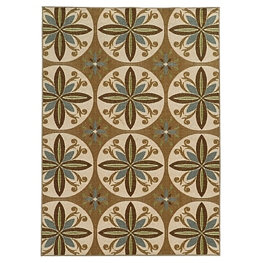 StyleHaven Floral Tan/ Ivory Indoor Machine-made Nylon Area Rug (7'10