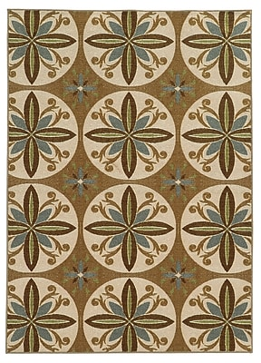 StyleHaven Floral Tan/ Ivory Indoor Machine-made Nylon Area Rug (5'3