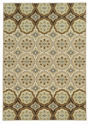 Floral Ivory/ Tan Indoor Machine-made Nylon Area Rug (7'10