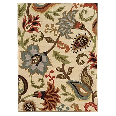 StyleHaven-Floral Ivory/ Multi Indoor Machine-made Nylon Area Rug (5'3