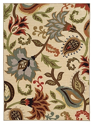 StyleHaven-Floral Ivory/ Multi Indoor Machine-made Nylon Area Rug (3'3