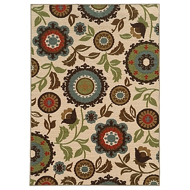 StyleHaven Floral Ivory/ Multi Indoor Machine-made Nylon Area Rug (5'3