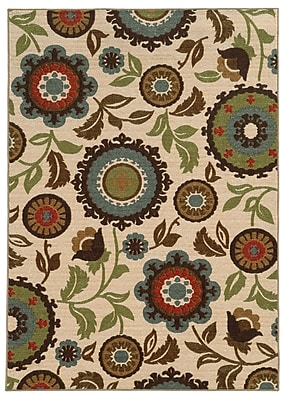 StyleHaven Floral Ivory/ Multi Indoor Machine-made Nylon Area Rug (6'7