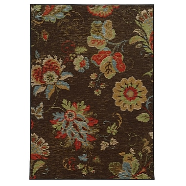 StyleHaven Floral Brown/ Multi Indoor Machine-made Nylon Area Rug (5'3