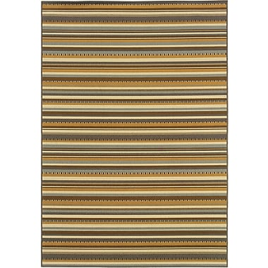StyleHaven Stripe Grey/ Gold Indoor/Outdoor Machine-made Polypropylene Area Rug (7'10