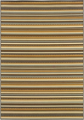 StyleHaven Stripe Grey/ Gold Indoor/Outdoor Machine-made Polypropylene Area Rug (6'7