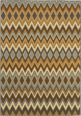 StyleHaven - Chevron Grey/ Gold Indoor/Outdoor Machine-Made Polypropylene Area Rug (5'3