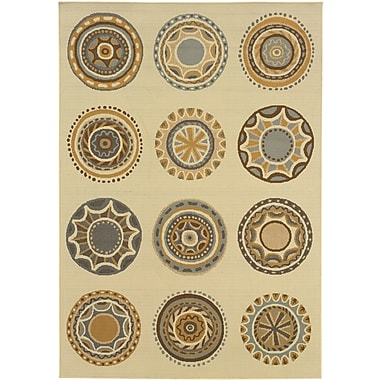 StyleHaven Geometric Ivory/ Grey Indoor/Outdoor Machine-made Polypropylene Area Rug (3'7