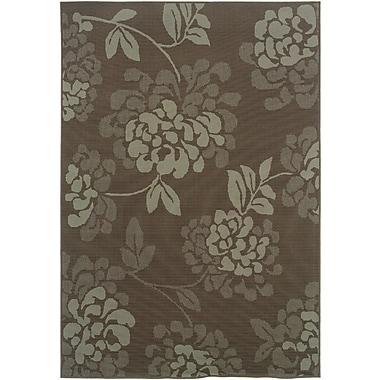 StyleHaven-Floral Grey/ Blue Indoor/Outdoor Machine-made Polypropylene Area Rug (5'3