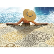 "StyleHaven-Floral Ivory/ Grey Indoor/Outdoor Machine-made Polypropylene Area Rug (5'3"" X 7'6"")"