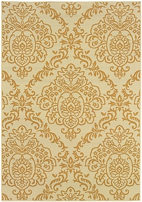 StyleHaven Floral Ivory/ Gold Indoor/Outdoor Machine-made Polypropylene Area Rug (5'3