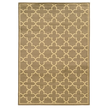StyleHaven Geometric Trefoil Tan/ Beige Indoor Machine-made Polypropylene Area Rug (5'3