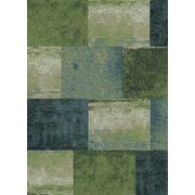 "StyleHaven Geometric Green/ Blue Indoor Machine-made Polypropylene Area Rug (3'3"" X 5'5"")"