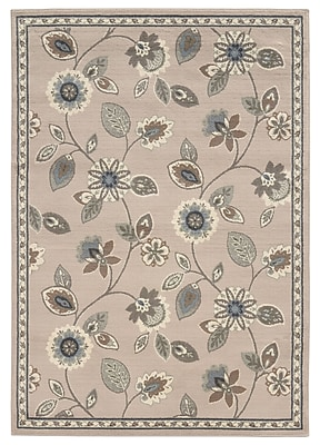 StyleHaven Floral Stone/ Blue Indoor Machine-made Polypropylene Area Rug (5'3