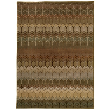 StyleHaven Geometric Brown/ Green Indoor Machine-made Nylon/Polypropylene Area Rug (5'3