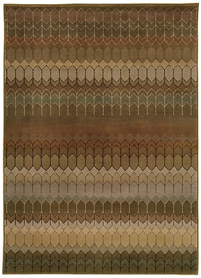 StyleHaven Geometric Brown/ Green Indoor Machine-made Nylon/Polypropylene Area Rug (7'10