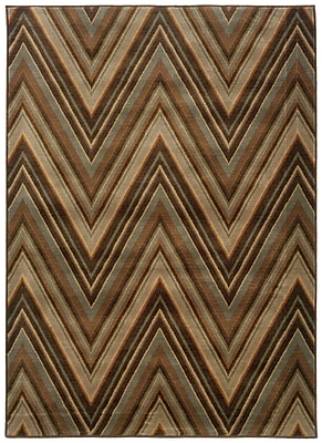 StyleHaven Chevron Brown/ Blue Indoor Machine-made Nylon/Polypropylene Area Rug (6'7