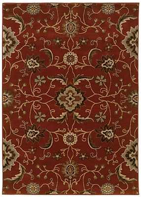 Floral Red/ Multi Indoor Machine-made Nylon/Polypropylene Area Rug (6'7
