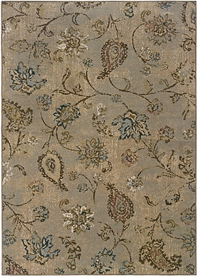 StyleHaven-Distressed Old World Blue/ Beige Indoor Machine-made Polypropylene Area Rug (5'3